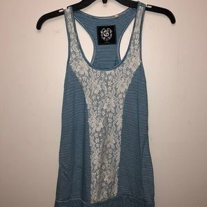 Stripped and lace tank top